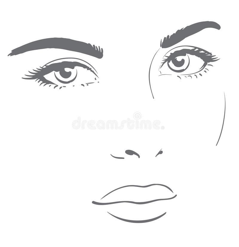 Young woman face with friendly look. Easy graphic drawing vector illustration