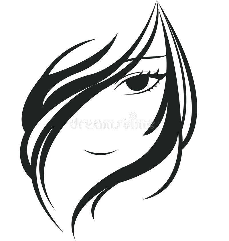 Young woman face. Silhouette of young woman face vector illustration