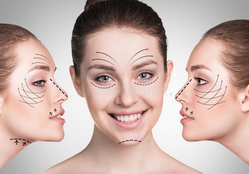 Young woman faces with lifting arrows stock image