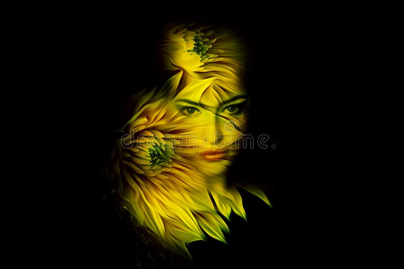 Young  woman fantasy portrait double exposure royalty free stock images