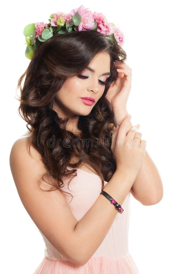 Young Woman Fashion Model with Pink Flowers stock photo