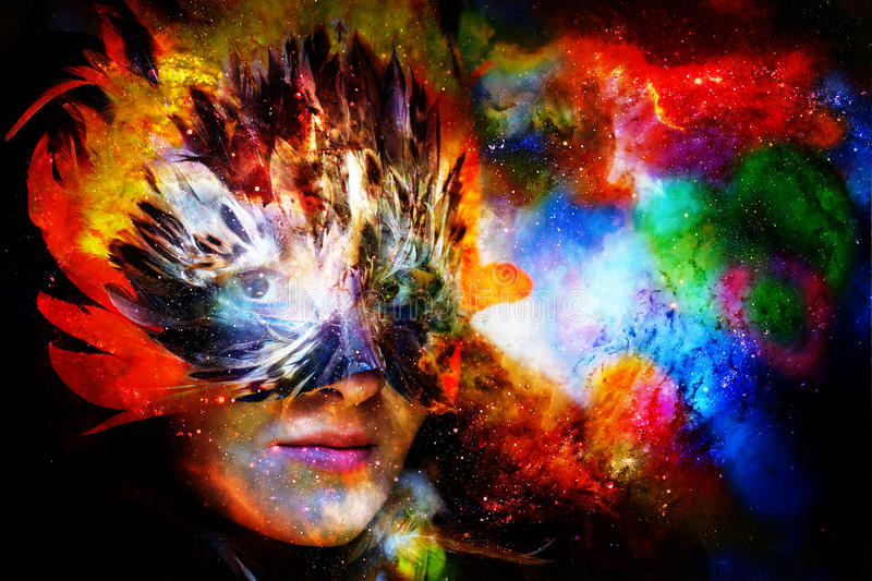 Young woman with feather carnival face mask. Goddess woman goddess in cosmic space. Young woman with feather carnival face mask. Goddess woman goddess in cosmic royalty free illustration