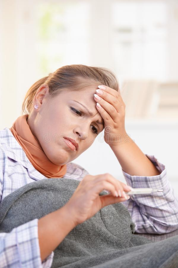 Download Young Woman Feeling Bad Taking Her Temperature Stock Image - Image: 17164695