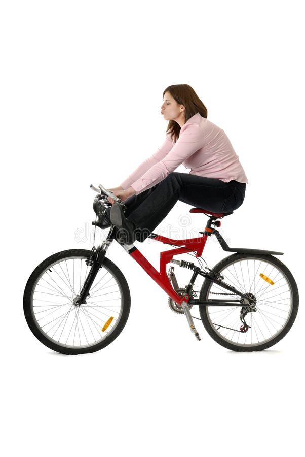Download Young Woman Feet In The Air On Bycicle Stock Photo - Image: 13470118
