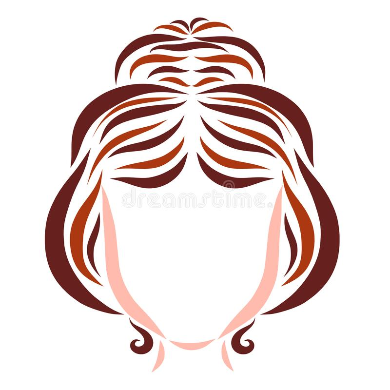 Young woman with festive hairdo, hair and beauty vector illustration