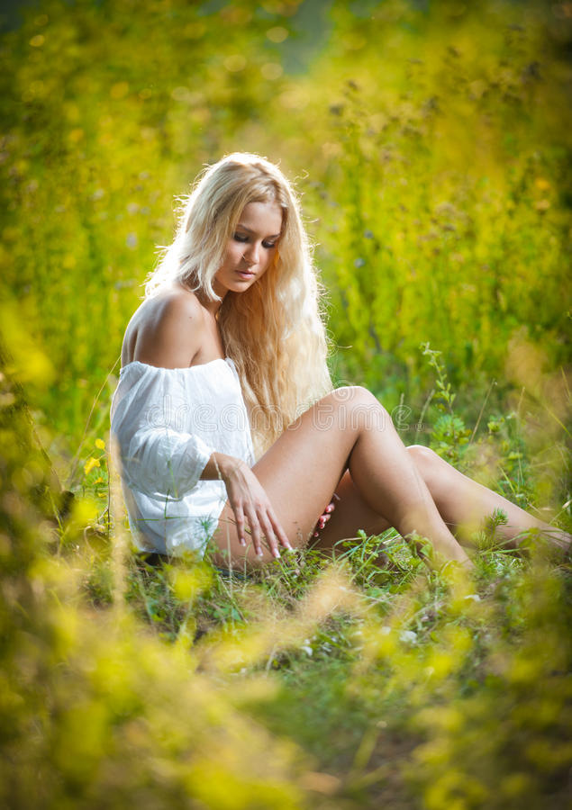 Download Young Woman On Field In White Dress Stock Image - Image of beautiful, female: 26852625