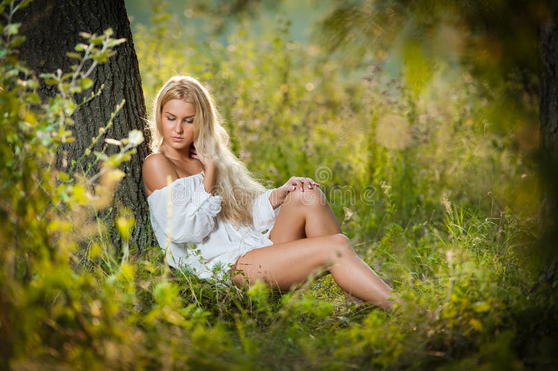 Download Young Woman On Field In White Dress Royalty Free Stock Images - Image: 26852709