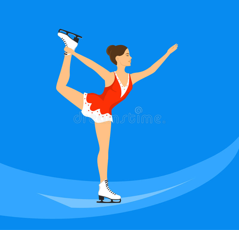 Young Woman Figure Skating on Ice Rink vector illustration