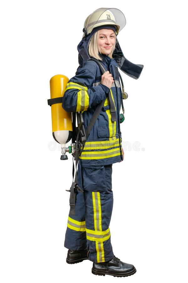 Young woman firefighter wearing uniform and helmet with Breathing Air Cylinder Assembly and Full Facepiece Respirator. On her back isolated on a white stock photos