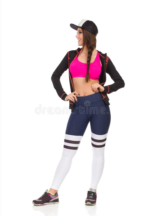 Smiling Fit Woman In Black Sports Bra Stock Image