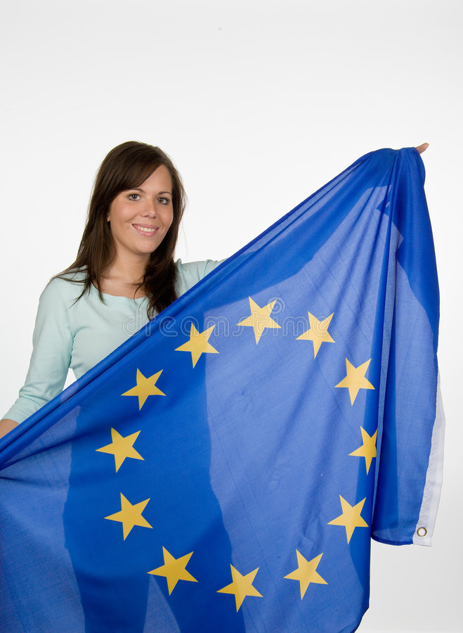 Young woman with flag royalty free stock image