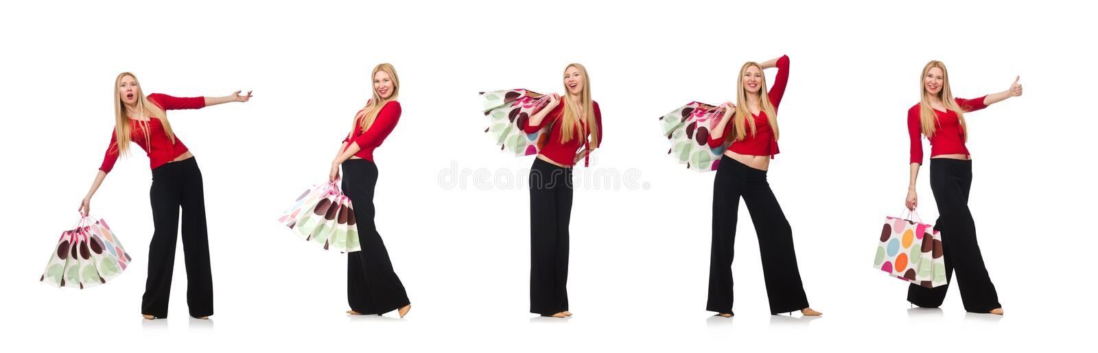 Young woman in flared pants isolated on white stock photo