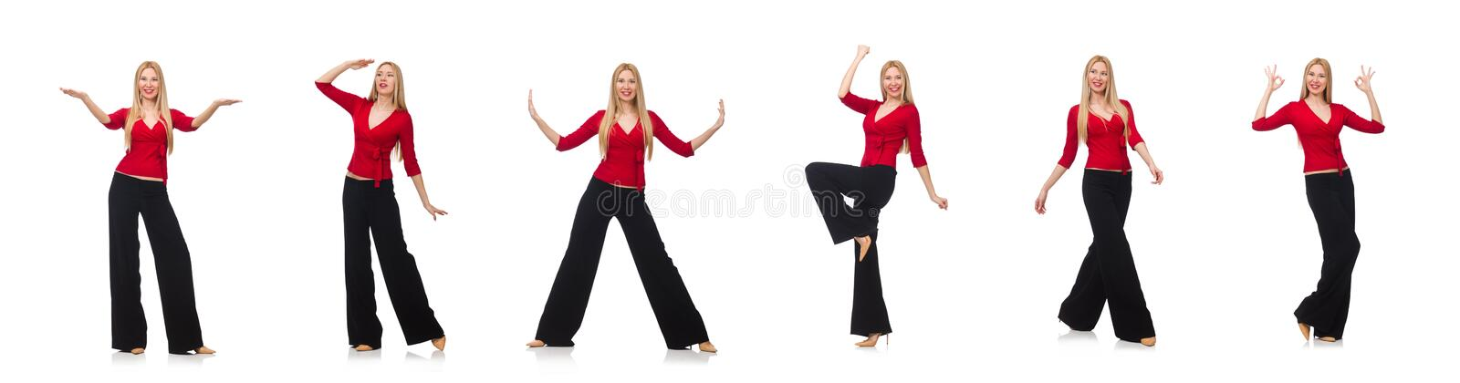 Young woman in flared pants isolated on white stock images