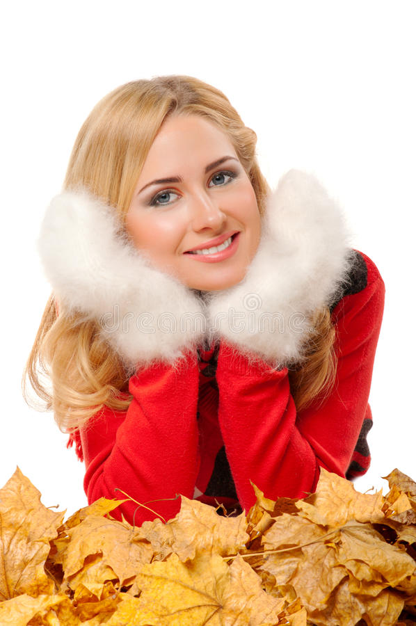 Young Woman With Fleecy Mittens Stock Image