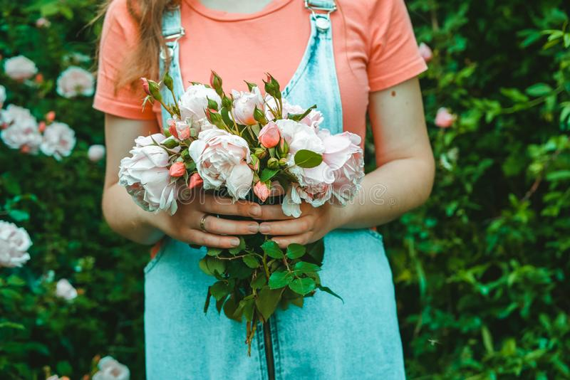 A young woman florist is holding a bouquet of pink roses. In the garden royalty free stock photo