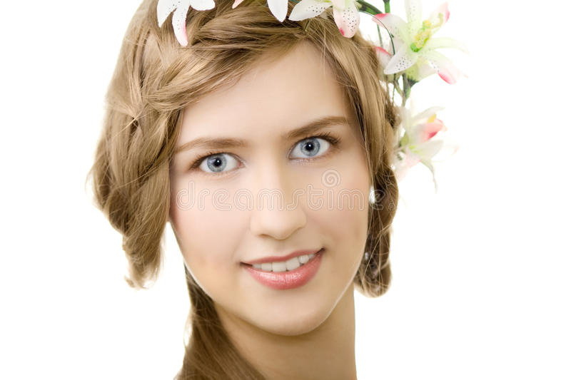 Download Young Woman Flower Garland Smile Stock Photo - Image: 14431620