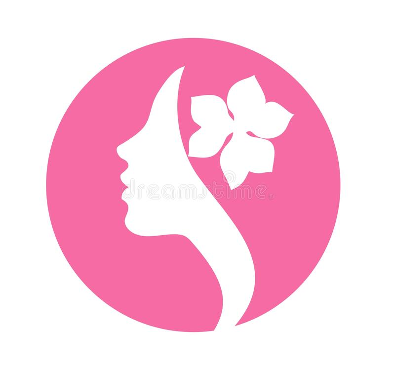Woman with flower in hair stock illustration
