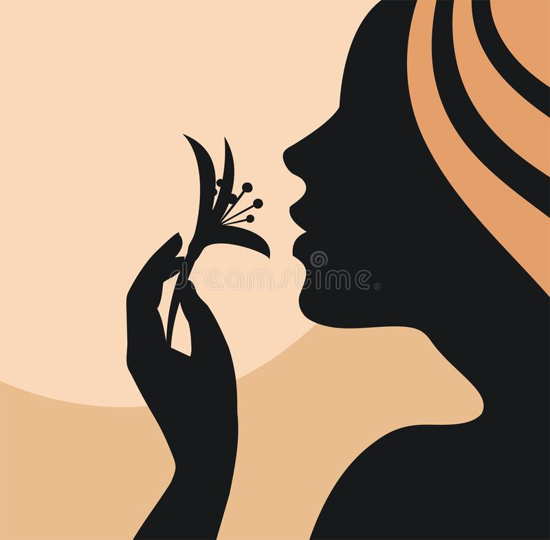 Silhouetted woman with flower. A stylish illustration of a silhouetted woman with a flower and copy space stock illustration