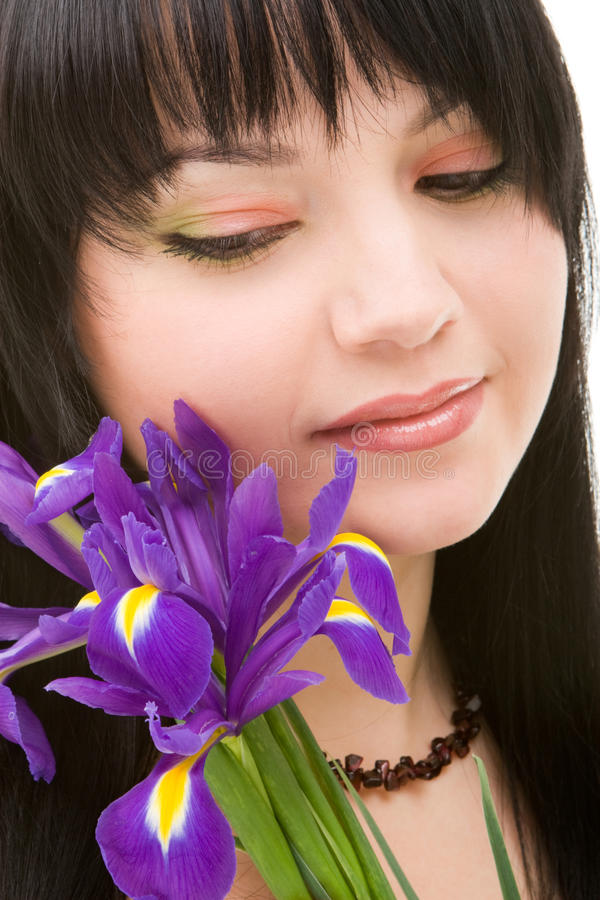 Download Young woman with flowers stock image. Image of love, brunette - 12086807