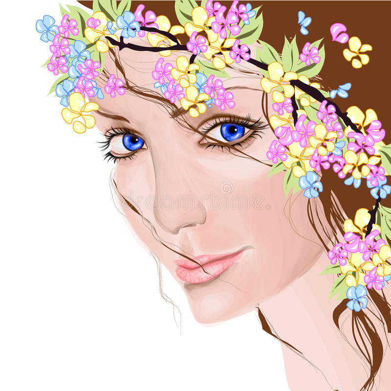 Young woman with flowers. In her hair vector illustration