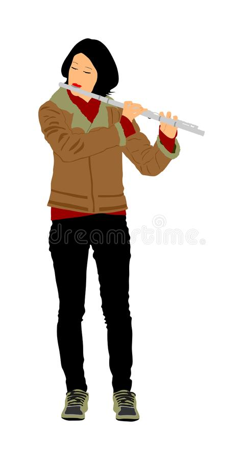 Young woman flute music playing vector. Flutist musician performer with wind musical instrument illustration. Street performer. Music flautist lady portrait royalty free illustration