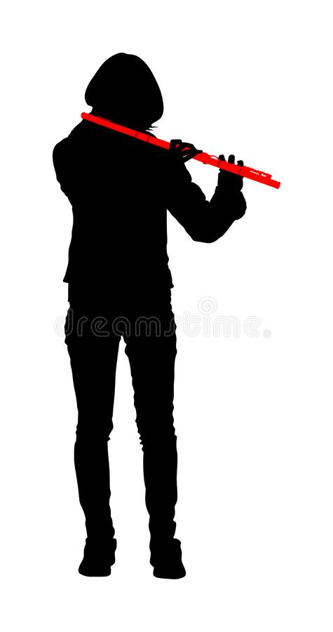 Young woman flute music playing vector. Flutist musician performer with wind musical instrument illustration. Street performer. Young woman flute music playing royalty free illustration