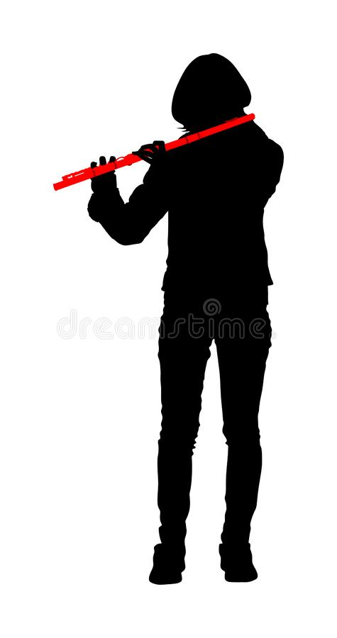 Young woman flute music playing vector silhouette. Flutist musician performer with wind musical instrument illustration. Street performer. Music flautist lady vector illustration