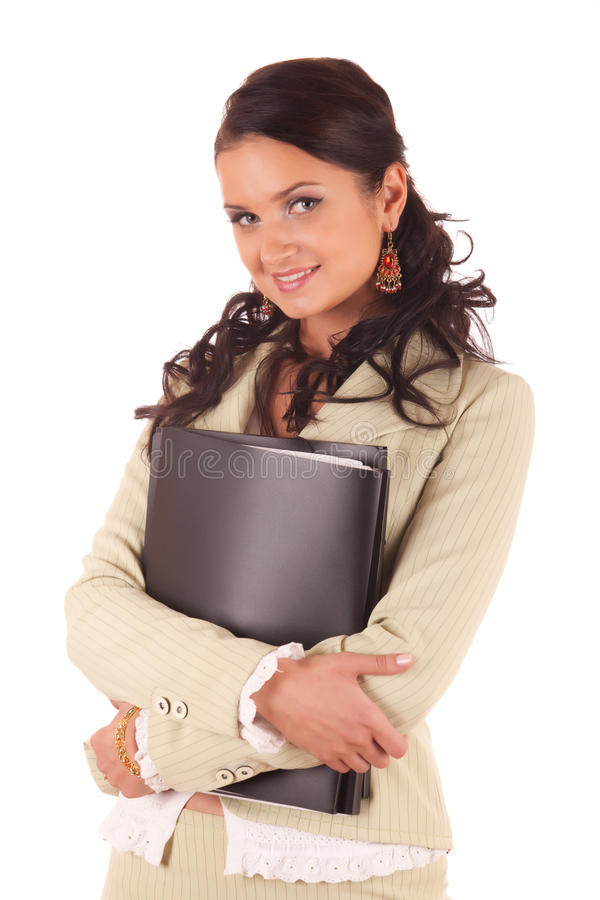 Young woman with folders of documents stock photos