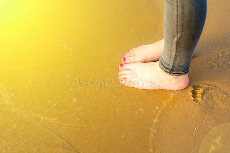 Young Woman foot going on the summer beach. Close up leg of teenager walking of sea, sand on the beach. Travel Concept. royalty free stock image