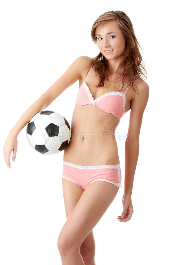Download Young Woman With A Football Ball Stock Photo - Image of fashion, cute: 10472394