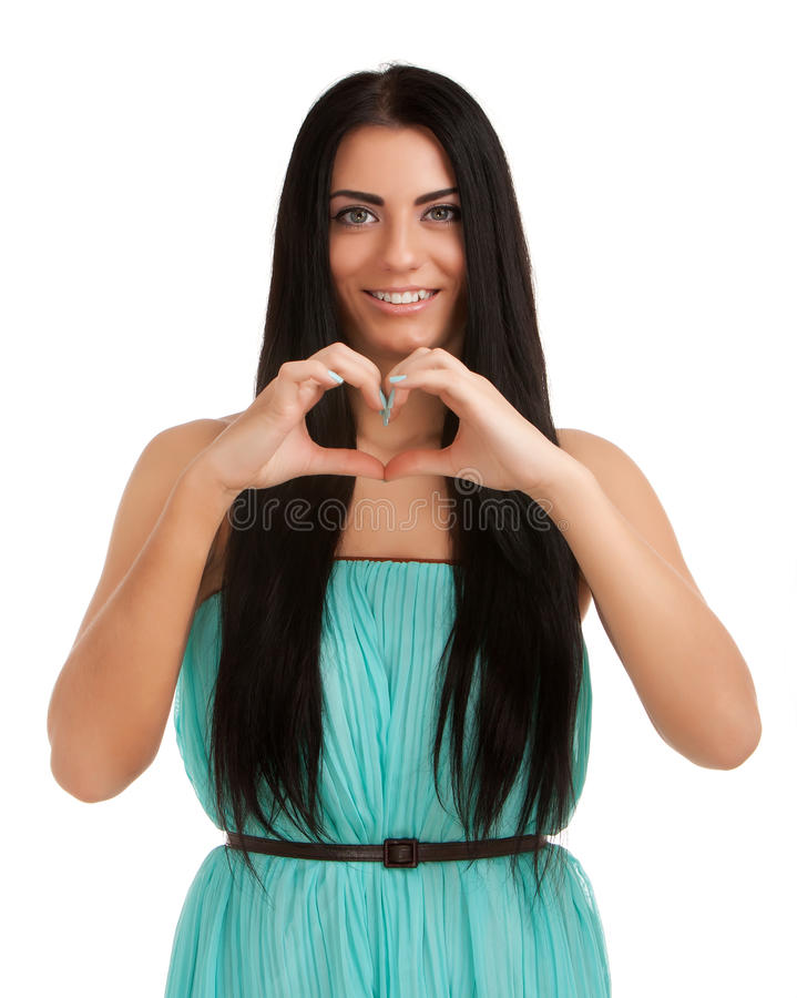Download Young Woman Forming Heart Shape With Hands Stock Photo - Image: 28539206