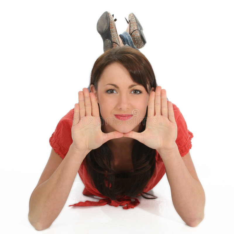 Young Woman Framing Face With Hands Royalty Free Stock Photo