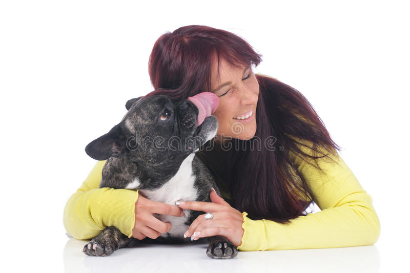 Young woman with french bulldog stock photography