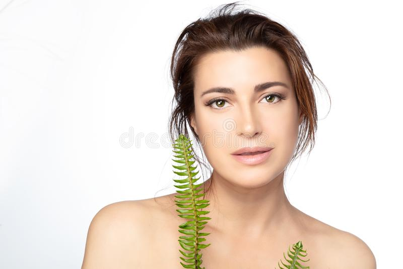 Young woman fresh clean skin concept on white background stock image