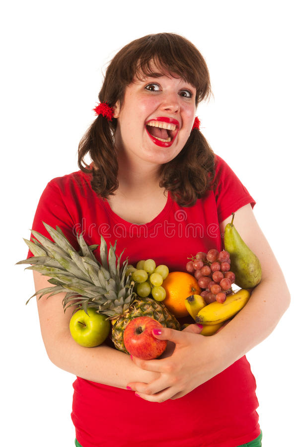 Young Woman With Fruit Stock Photo