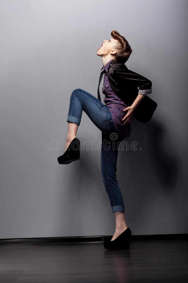 A young woman in a full-length. stock photos