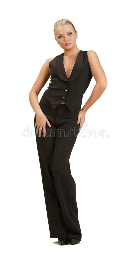 Download Young Woman In A Full-length Trouser Suit Posing Stock Image - Image: 23290015