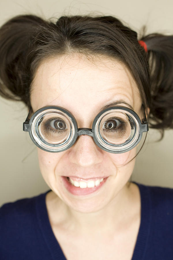Young woman with funny glasses stock photos