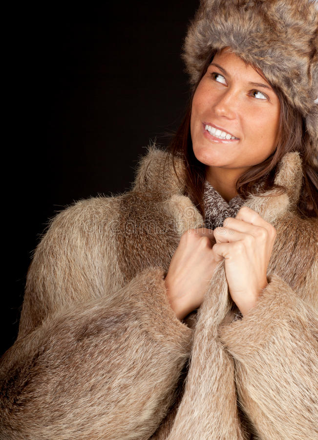 Download Young Woman In A Fur Coat And Hat Stock Image - Image of body, happy: 18364671