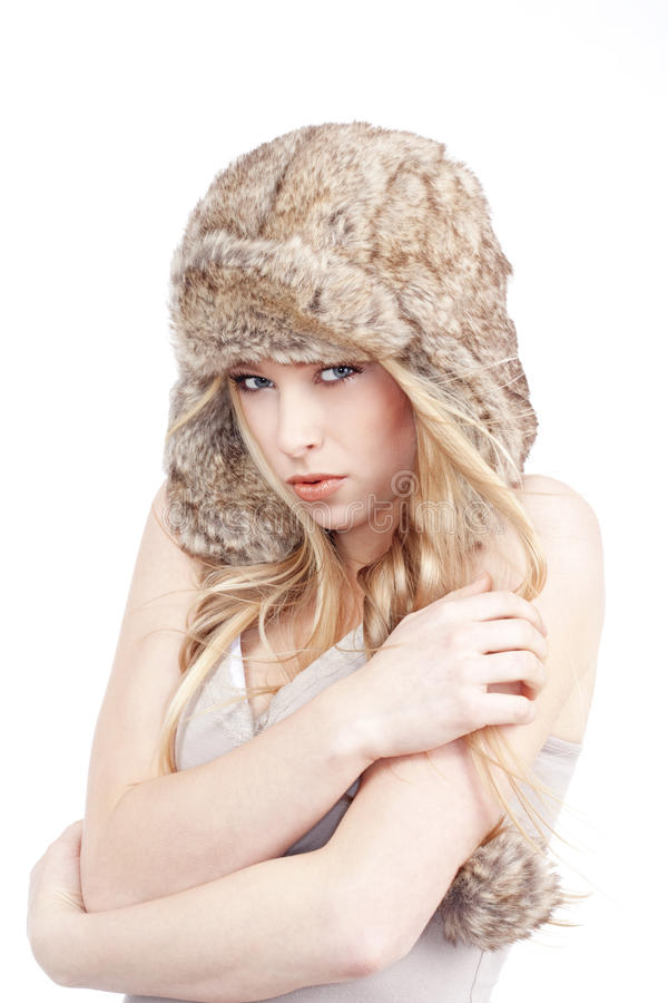 Download Young woman in fur hat stock image. Image of cute, white - 17913519
