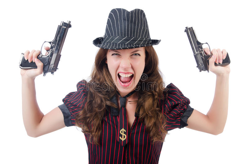 Download Young woman gangster stock photo. Image of pistol, adult - 33965150