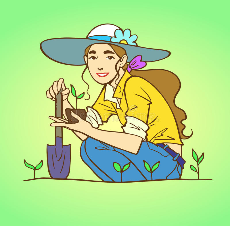 Young woman gardening. With sprouts. Girl with long light brown hair sitting at the farm. Vector colored sketch illustration vector illustration