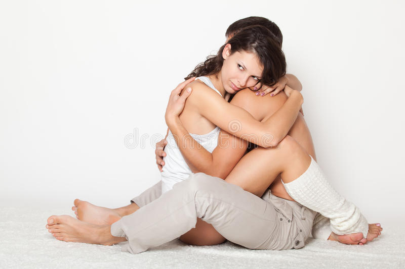 Download Young Woman Gently Pressed Boyfriend Stock Image - Image: 22034587