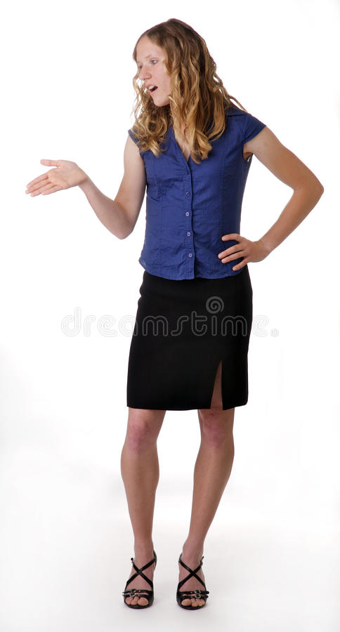 Young woman gesturing stock images