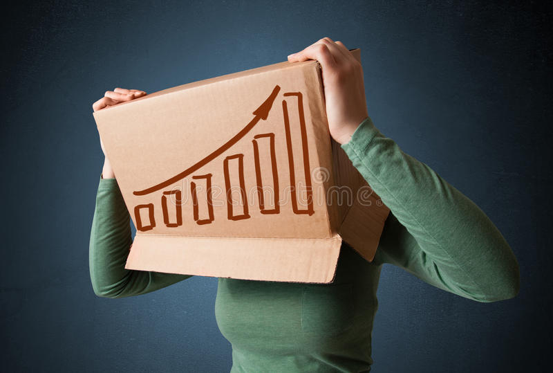Young woman gesturing with a cardboard box on his head with diag