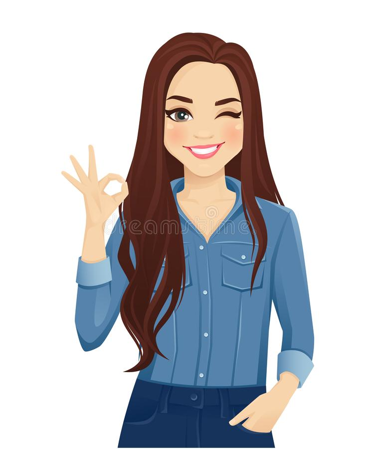Young woman gesturing ok sign. Young cheerful woman with long hair in casual denim shirt gesturing ok sign isolated vector illustration royalty free illustration