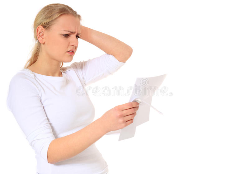 Young woman gets bad news royalty free stock images