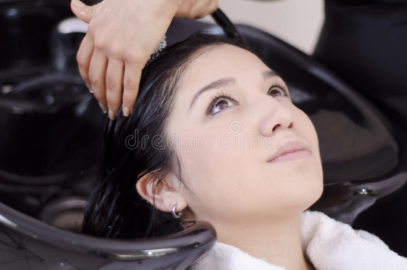 Young woman getting her hair washed. Cute young woman getting her hair washed in a hair salon royalty free stock image