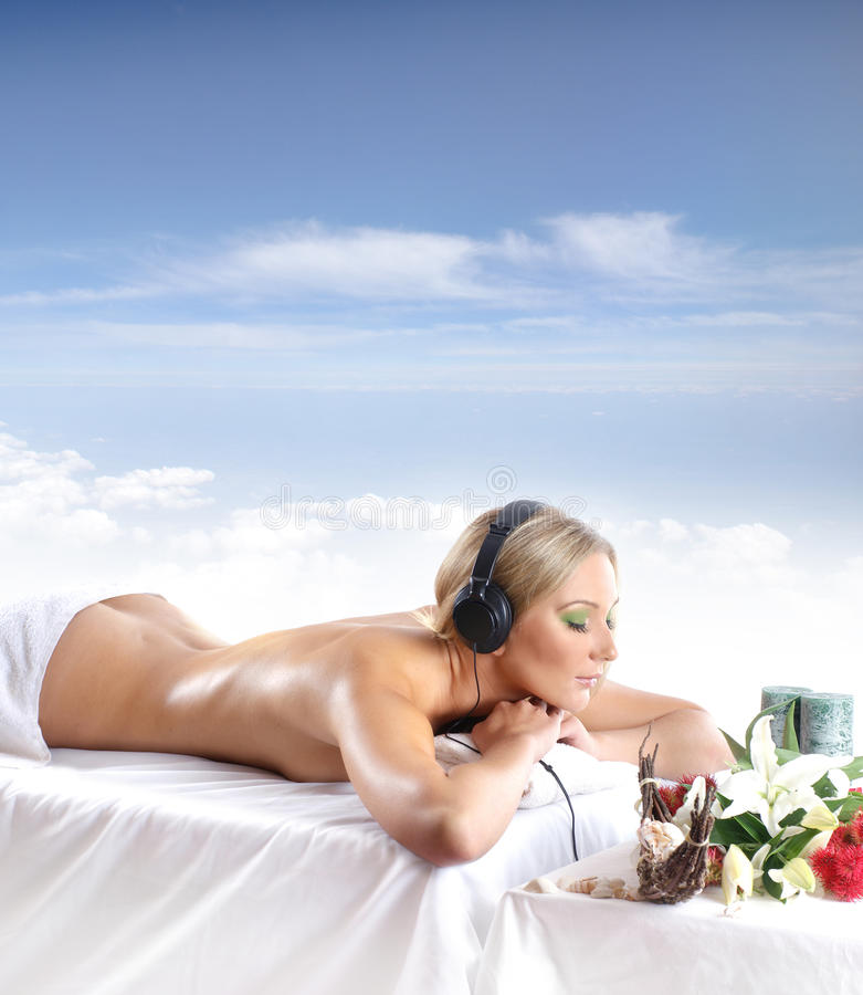 A Young Woman Is Getting Spa Treatment Stock Photos