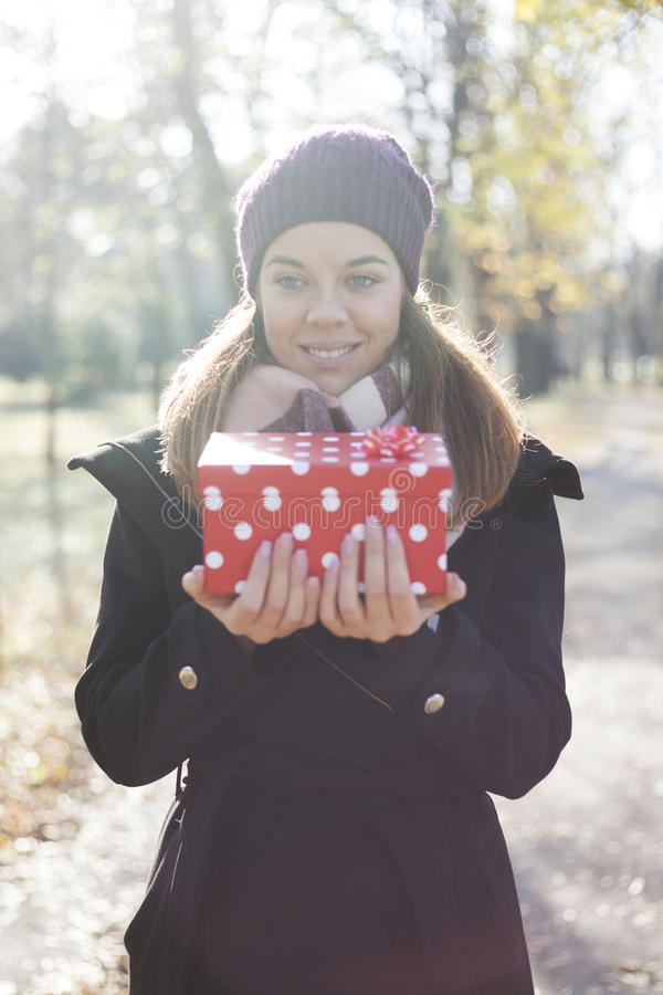 Download Young Woman With A Gift In Their Hands Stock Photo - Image: 83724778